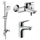 Набор смесителей для ванны и кухни 4 в 1 Hansgrohe NOVUS 1152019 (71030000+71040000+26553400)